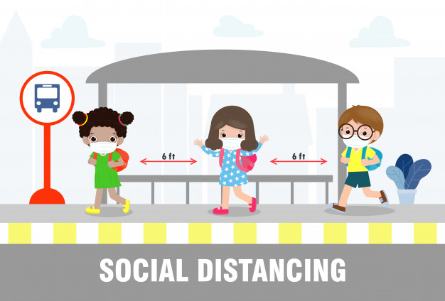 social-distancing-concept-back-school-happy-cute-diverse-kids-different-nationalities-wearing-medical-masks-bus-stop-during-coronavirus-covid-19-outbreak-new-