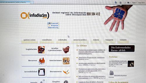 Página principal del portal de la discapacidad Infodisclm financiada por la Junta.