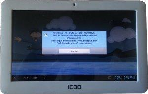 """Para las pruebas del proceso hemos usado una tablet de fabricación China PC ICOO D50 Android 4.0 7"""""""