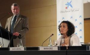 David Amaral, director científico del MIND Institute de California, junto a María Díez-Juan  también miembro del MIND Institute de California