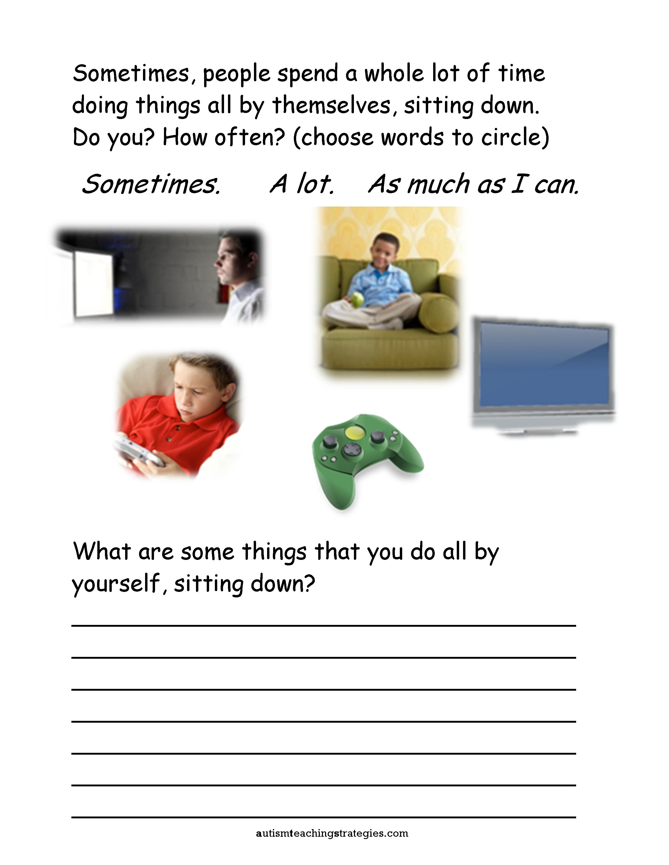 Seven Social Skills Worksheets For Kids With Asd Who Are