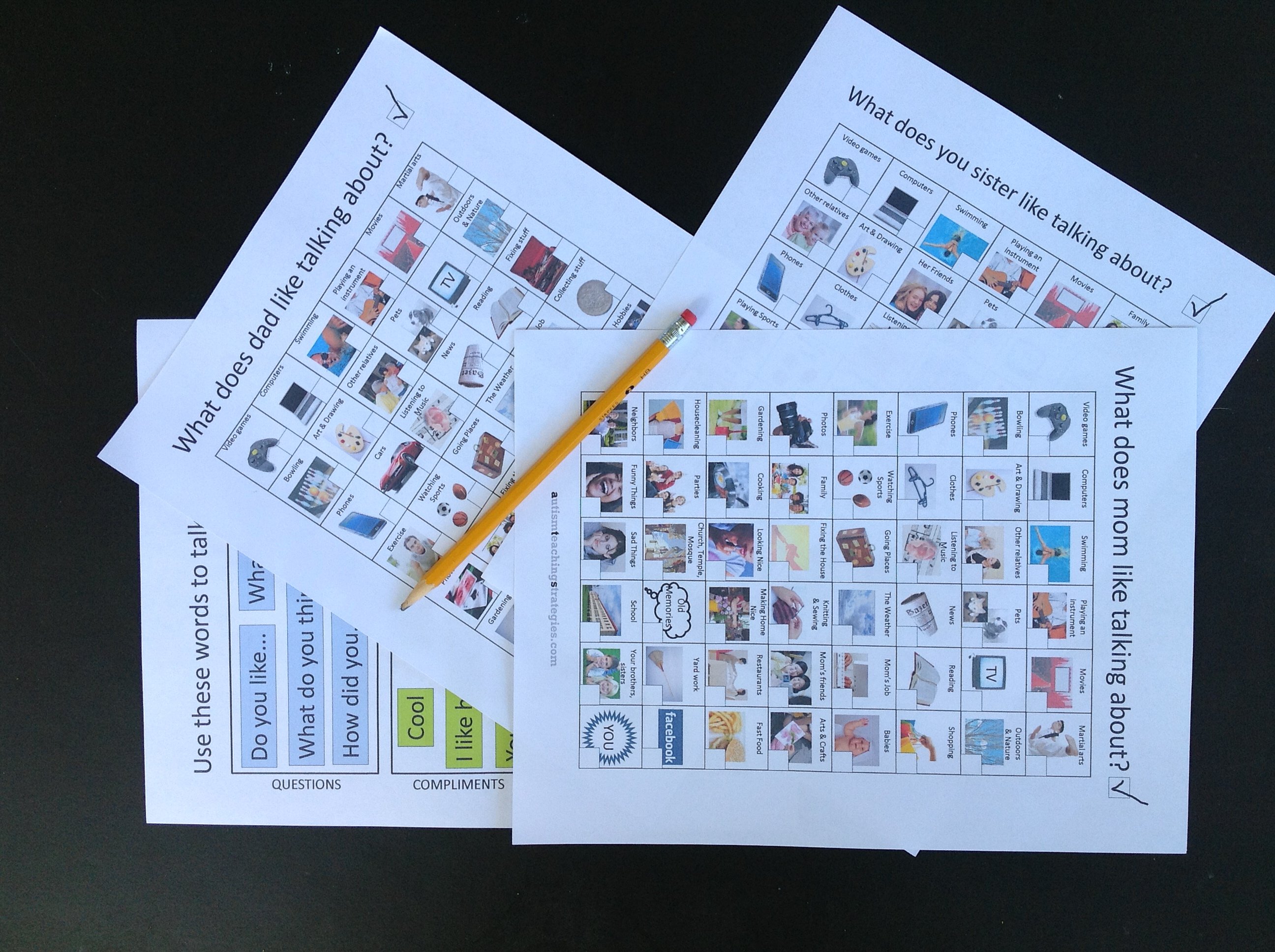 Talk To Dad Conversation Starter Worksheets For Kids With