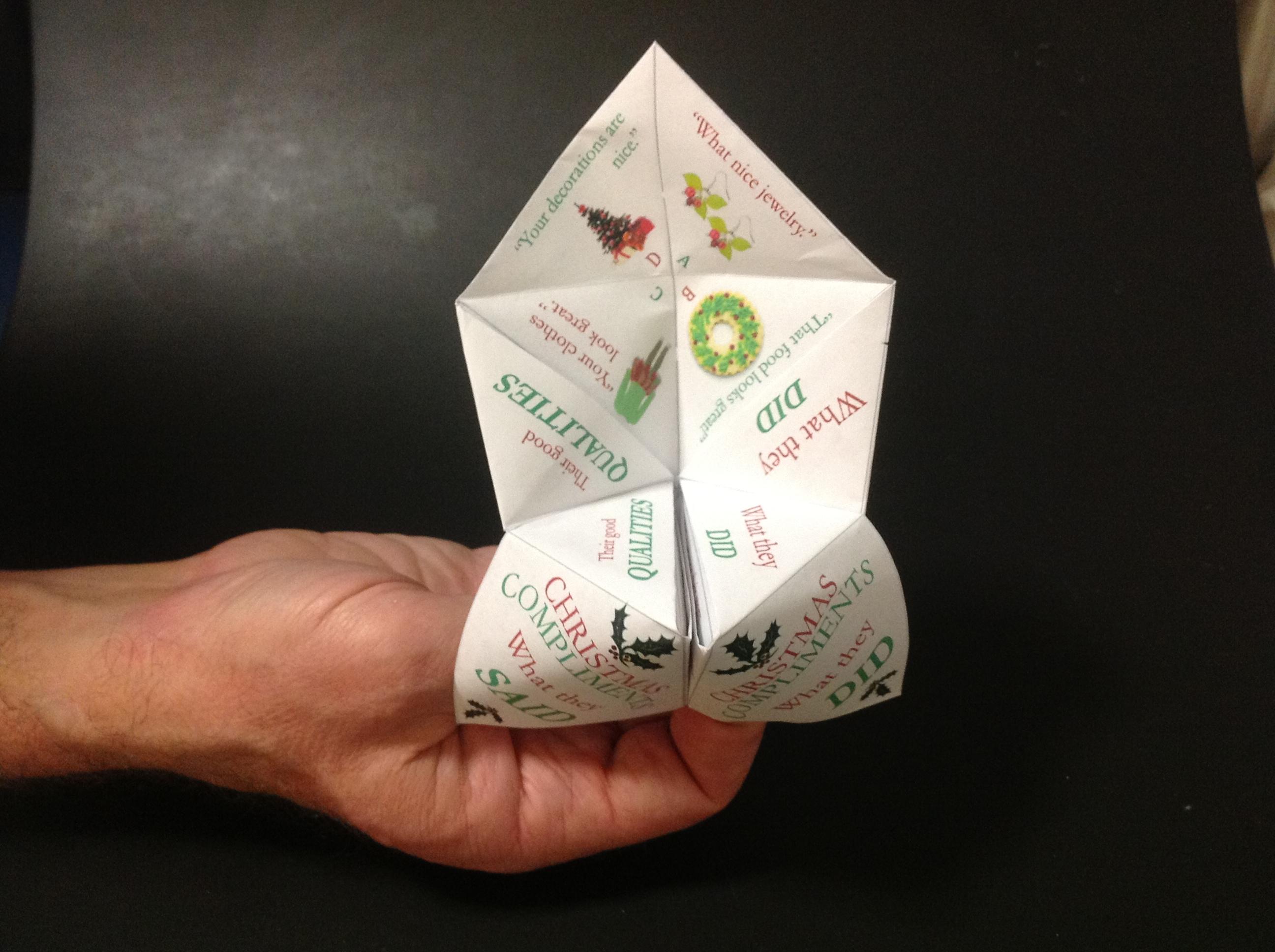 Christmas Social Skills Paper Fortune Teller For Kids With