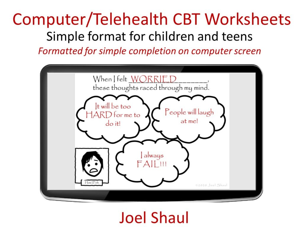 Telehealth On Screen Cbt Worksheets With Textboxes And