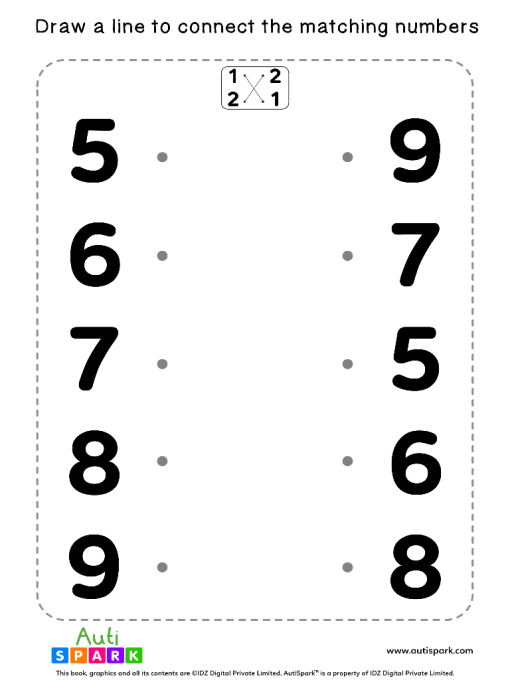 Match The Numbers Worksheet - Free Matching #06