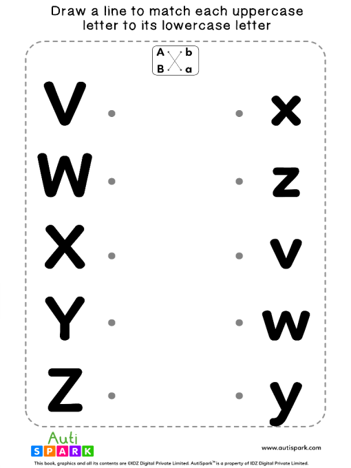 Match Uppercase To Lowercase Letters #07 - Matching Worksheet