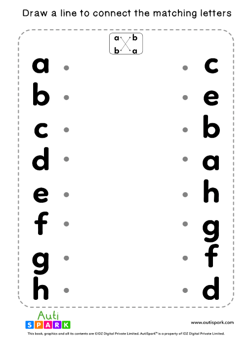 Match Lowercase Letters #08 - Free Matching Worksheet