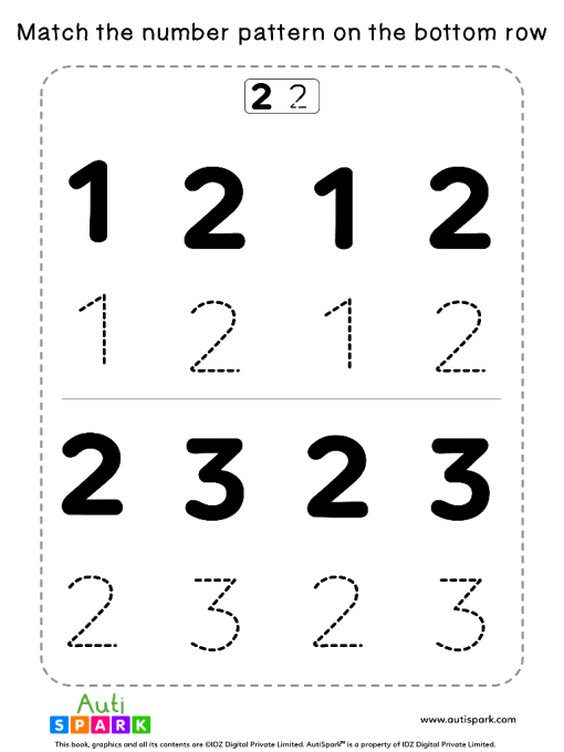 Match Number Patterns Worksheet #01 – Trace the Numbers