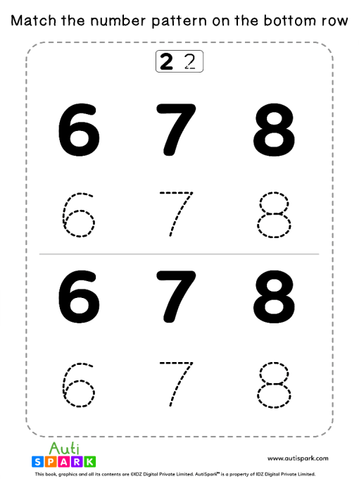 Match Number Patterns Worksheet #11 – Trace the Numbers