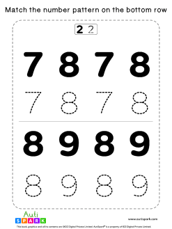 Match Number Patterns Worksheet #04 – Trace the Numbers