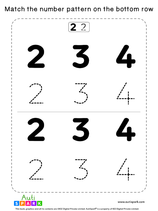 Match Number Patterns Worksheet #07 – Trace the NumbersMatch Number Patterns Worksheet #07 – Trace the Numbers