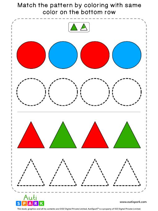 Match Color Patterns Worksheet #04 – Color the Shapes
