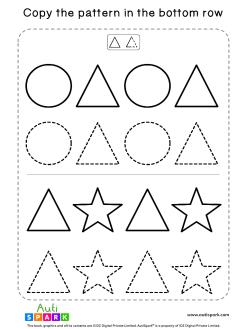 Match Shape Patterns Free Worksheet #01 – Tracing Shapes