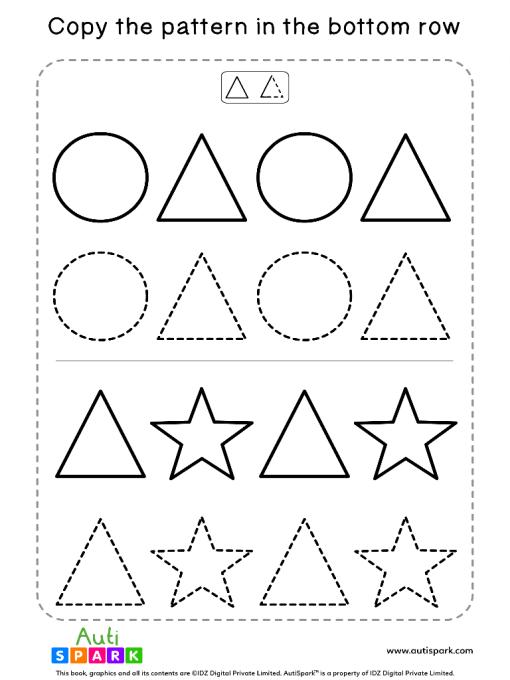 Match Shape Patterns Free Worksheet #01 – Tracing Shapes