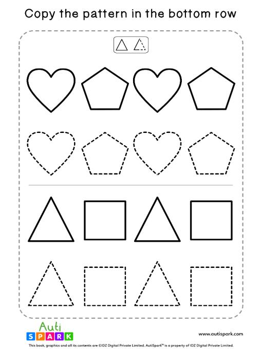 Tracing Shapes Free Worksheet #05 – Match Shape Patterns