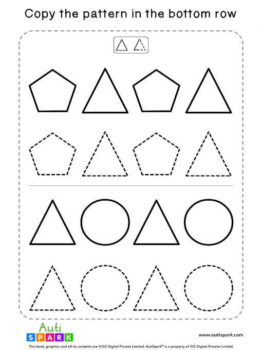 Tracing Shapes Free Worksheet #06 – Match Shape Patterns