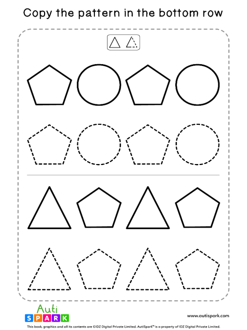 Tracing Shapes Free Worksheet #07 – Match Shape Patterns