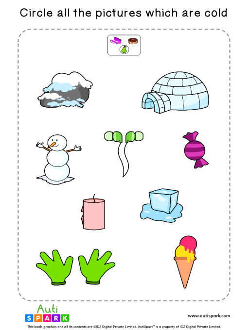 Circle The Cold Objects Worksheet 2