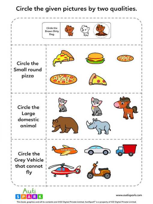 Identify Pictures By Two Qualities - Fun Worksheet #4