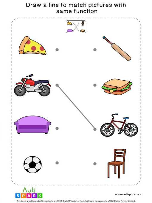 Match Pictures By Function #01 – Free Matching Worksheet