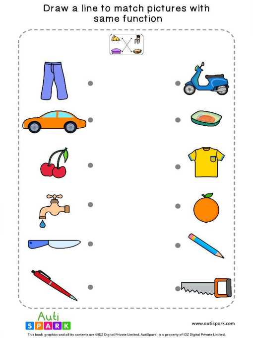 Match Pictures By Function #09 – Free Matching Worksheet