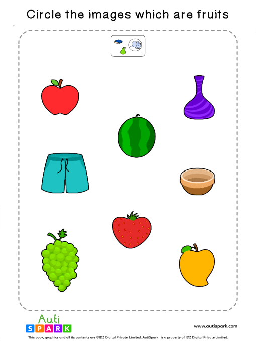Sort The Fruits Worksheet 4