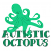 A friendlier looking, green octopus, with it's tentacles around it and through the words Autistic Octopus