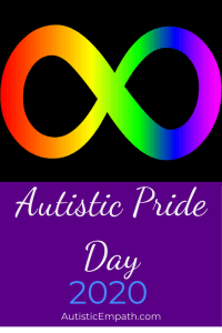 Rainbow infinity symbol on a black background above white and blue text reading Autistic Pride Day 2020 on purple background