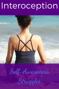 "A woman wearing a strappy grey tank top is seen from the back sitting on a beach. Blue and white text on a purple background reads ""Interoception Self-Awareness Struggles"""
