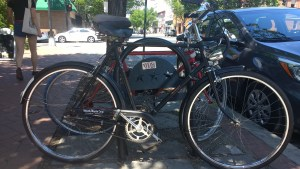 my vintage, English 3-speed, a tall, black bike with fenders and an old-fashioned Brooks saddle