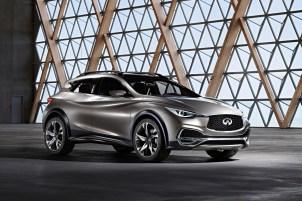 """2015 – Koncept Infiniti QX30 """"Designová vize Infinity coby nového prémiového kompaktního crossoveru cílícího na novou generaci individualistických prémiových zákazníků. Tento koncept vedl k tovární výrobě vozů QX30."""""""