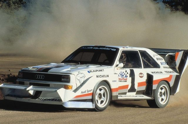 1987: Walter Röhrls storms the Pikes Peak in record time with the Audi Sport quattro S1, bringing Audi its thrid win in a row there