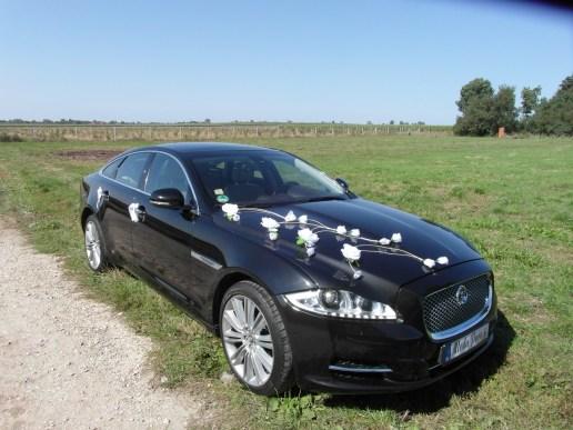 Jasna dekoracja do ślubu Jaguar XJ.