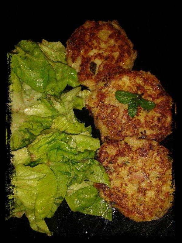 Galettes de pommes de terre -jambon-chêvre et menthe