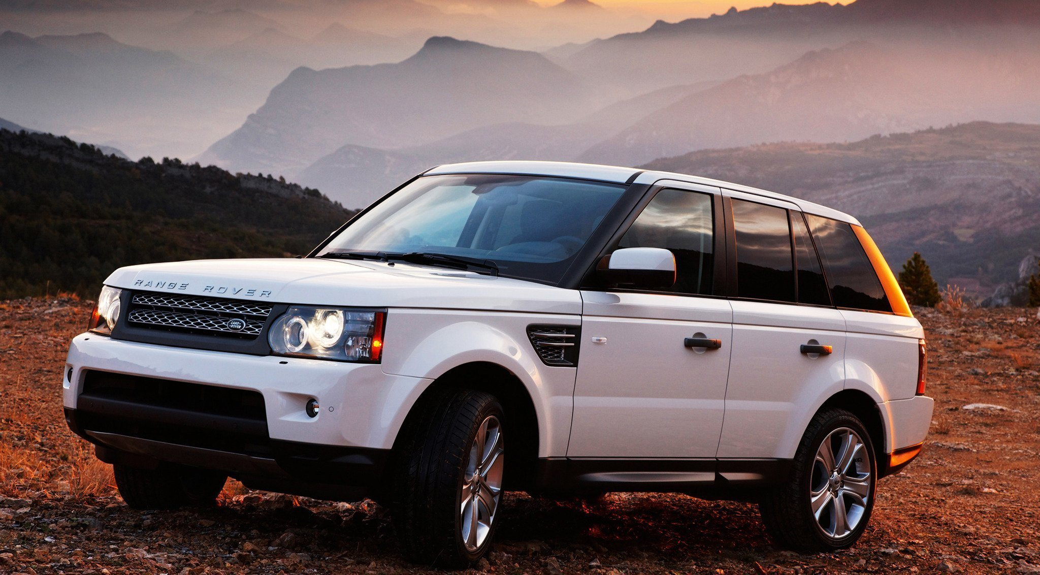 Latest Range Rover White Car Sunset Mountain Cars Machinery Hd Free Download