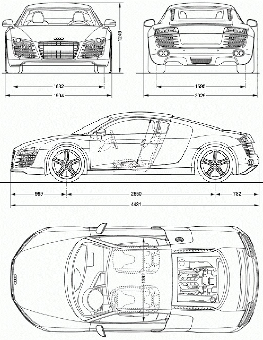 Latest Download Car Blueprint Of Audi R8 Cars Voiture Dessin Free Download