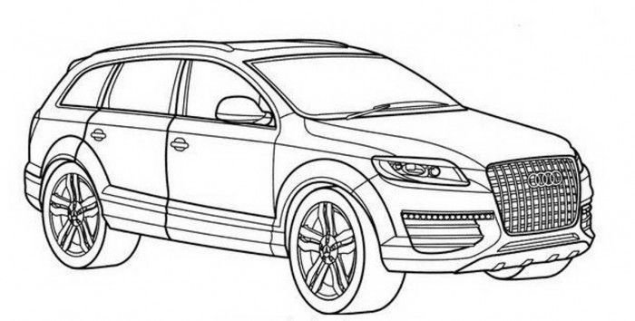 Latest Audi Q7 Drawing Ride A Cart In 2019 Cars Coloring Free Download