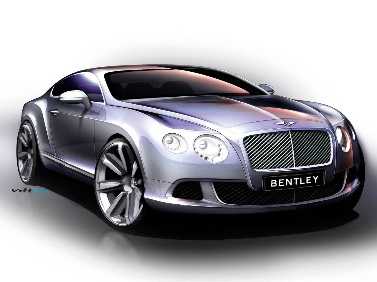Latest Bentley Continental Gt 2010 Supercar Sketches Free Download