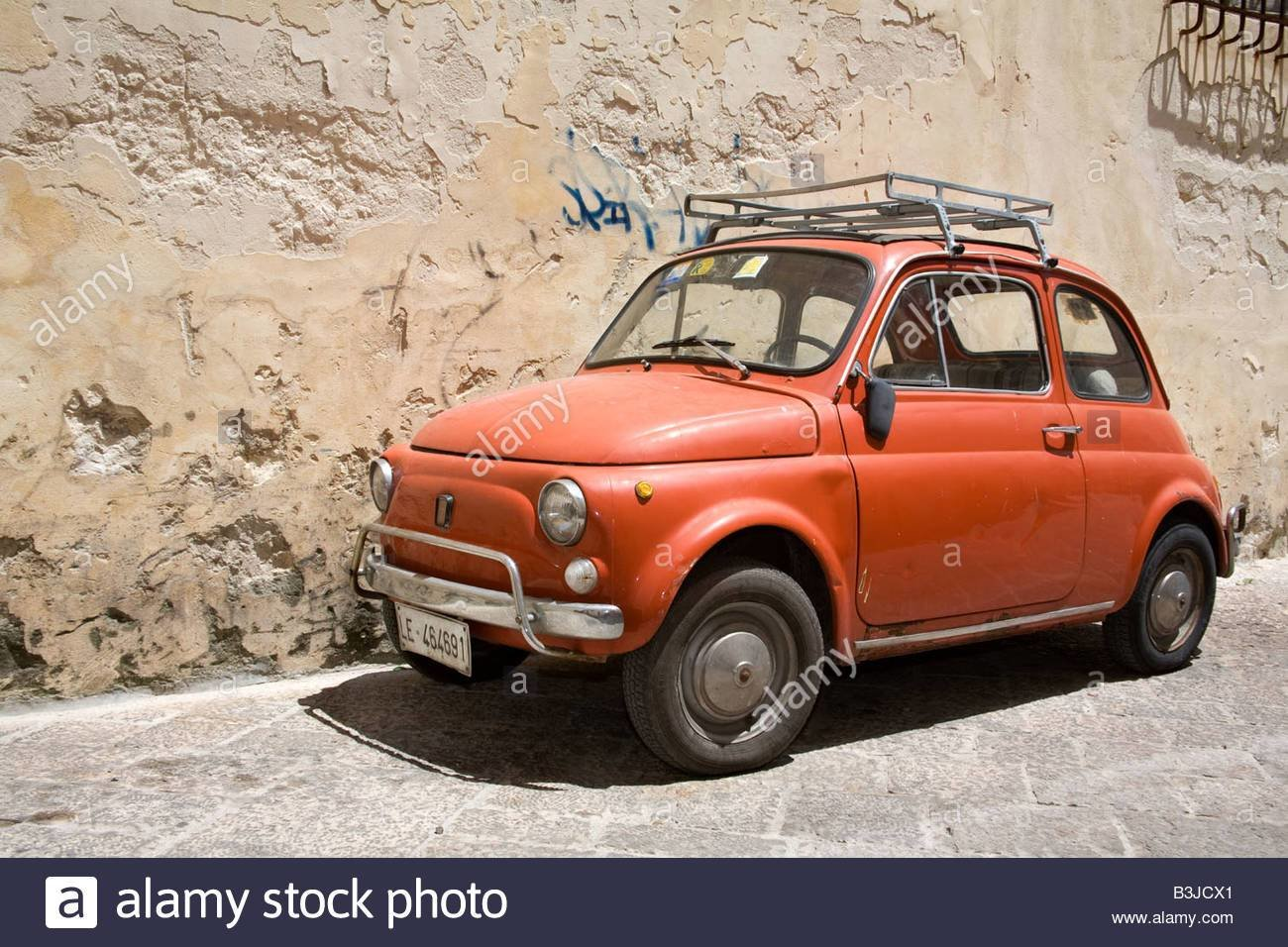 Latest Old Red Fiat 500 Car With Roof Rack Parked In Lecce City Free Download
