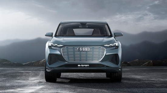 Audi q4 e tron all electric front view sealed grille