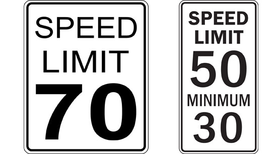 Highway driving safety speed limit and minimum speed