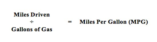 Fuel economy miles per gallon equation