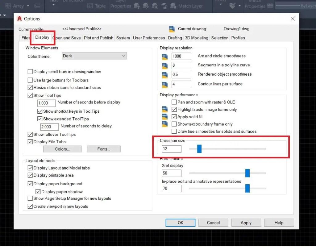 Inrease/decrease crosshair size in AutoCAD