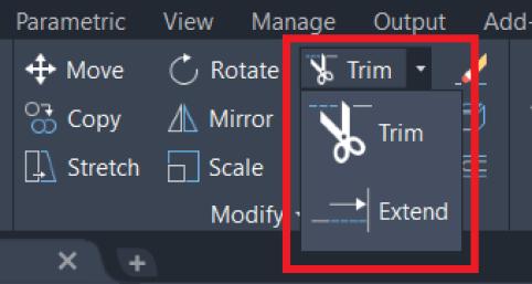 Modify panel Autocad