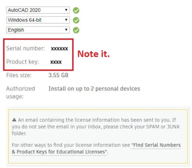 Serial number and product key for installation-AutoCAD