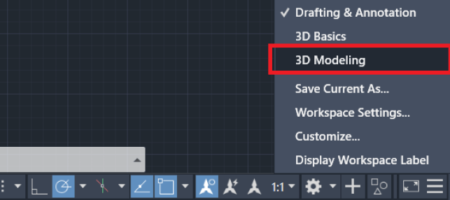 Extrude AutoCAD - 3D modeling workspace