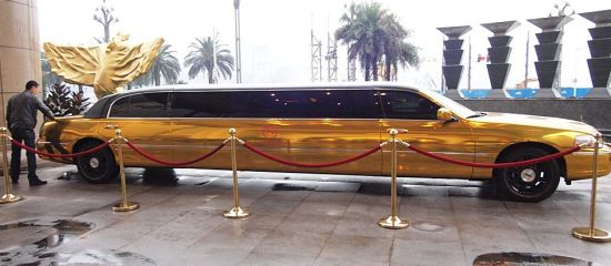 Gold plated Lincoln Town Car stretched Limousine 1