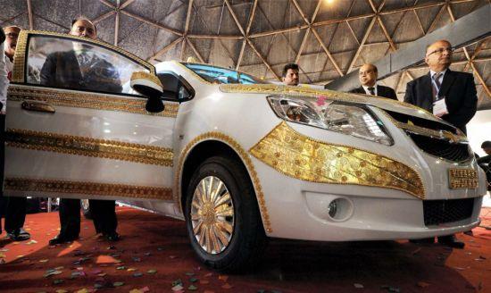 Gilded Chevrolet car at Gujarat Global Trade Fair 2013
