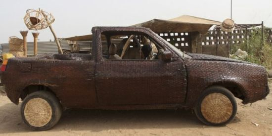 wicker-covered car by ojo obaniyi 1