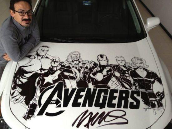 Humberto Ramos' Avengers Artwork on Acura TL